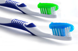 toothbrushes with toothpaste poster