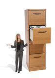 business woman at file cabinet poster