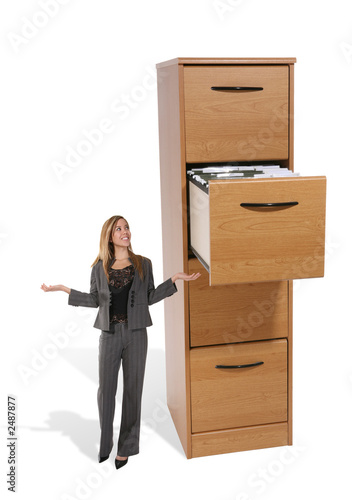 business woman at file cabinet