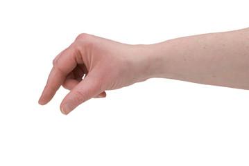 woman's fingers piching
