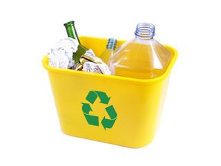 yellow disposal bin