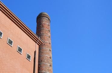 brick building and smokestack
