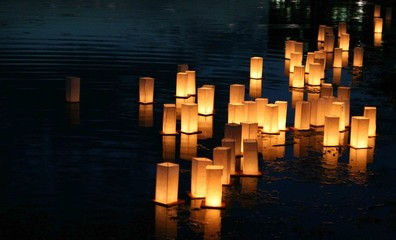 japanese lanterns floating on a lake