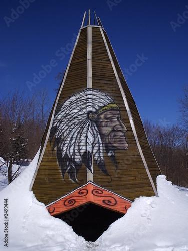 In de dag Indiërs wooden tent