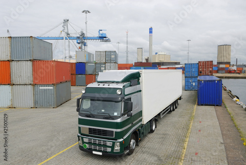 truck in port waiting for cargo