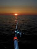 fishing troll water lake sunset dusk sundown poster