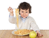 adorable child hungry at the time of eating poster