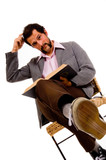 bearded male student reading book  - expressing confusion poster