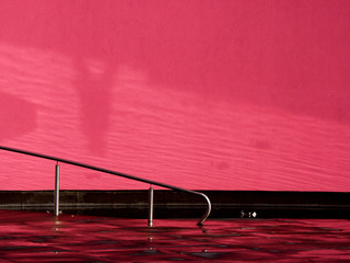 handrail with pink background