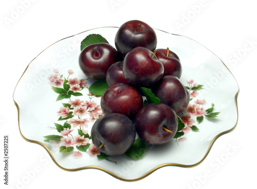 plums on plate