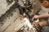 photo angle grinder in use poster