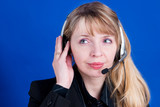 a customer representative with headset making a te poster
