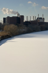 schuylkill river factory and snow