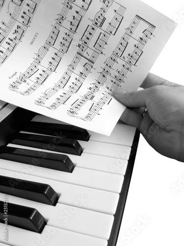 piano music with hand grayscale