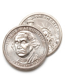 george washington dollar coins two poster