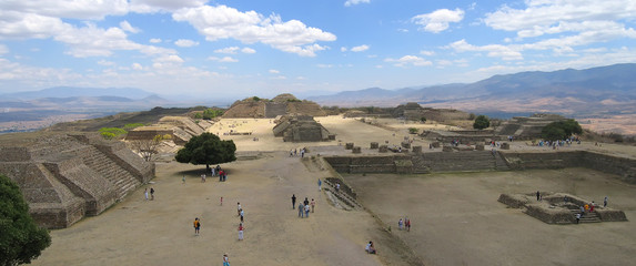 plaza central from monte alban old city , mexico , panorama2