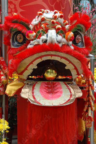 head of chinese lion in red