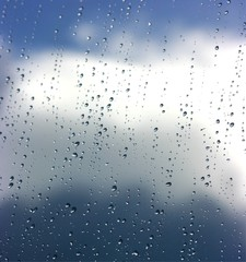 after the storm: raindrops on the window
