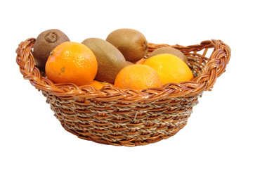 orange and kiwi in basket over white background