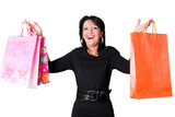 surprised woman with shopping bags poster