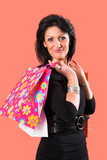 woman with shopping bags poster