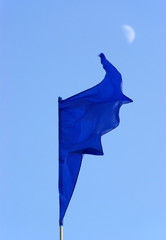 blue flag and moon