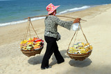 thai women selling fruits, pattaya poster