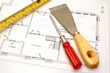 house plans and some tools