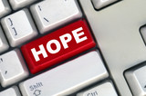 keyboard with -hope- button poster