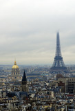 hotel des invalides and eiffel tour (tower) in fog poster