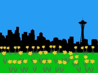 seattle skyline in springtime