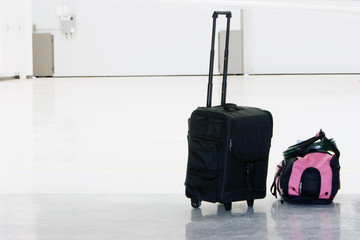 carry-on luggage and backpack