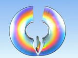 broken cd rainbow effect poster