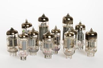 vacuum tubes on white background