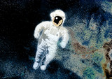 astronaut with space bg poster