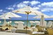 white resort umbrellas
