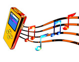 gold mp3 player with musical notes poster