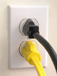 wall outlet - black yellow plug