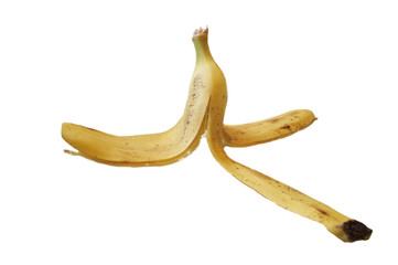 banana peel over white
