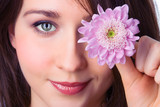 close-ups portrait pretty girl with lilac flower chrysanthemum poster