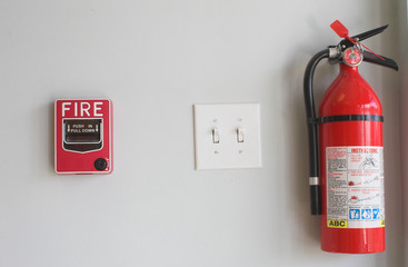 fire alarm pull box and extinguisher