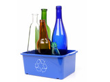 blue disposal bin and color glass bottles poster