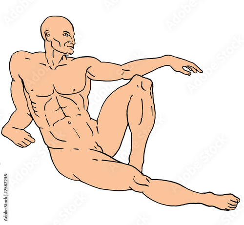 drawing of a nude male reclining