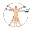 vitruvian man with technological gadgets