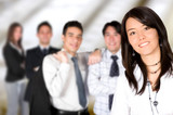 business team lead by a business woman poster