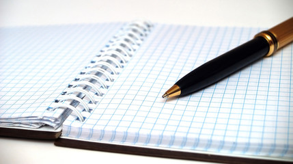notebook in check with pen