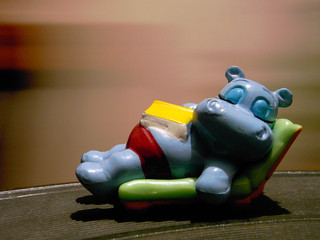 sleeping blue hippo