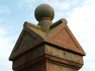rusty gatepost