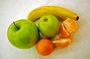 fresh fruits on the tablecloth