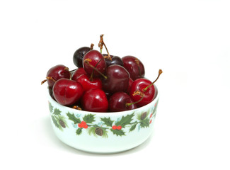bowl with sweet cherries
